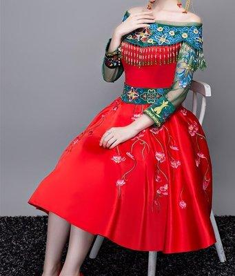 民族風敬酒服短款明星張歆藝同款中式復古晚禮服晚裝婚禮秀禾服