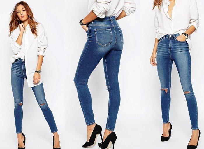 ◎美國代買◎ASOS雙膝刷破波紋刷色高腰合身牛仔褲~歐美街風~大尺碼
