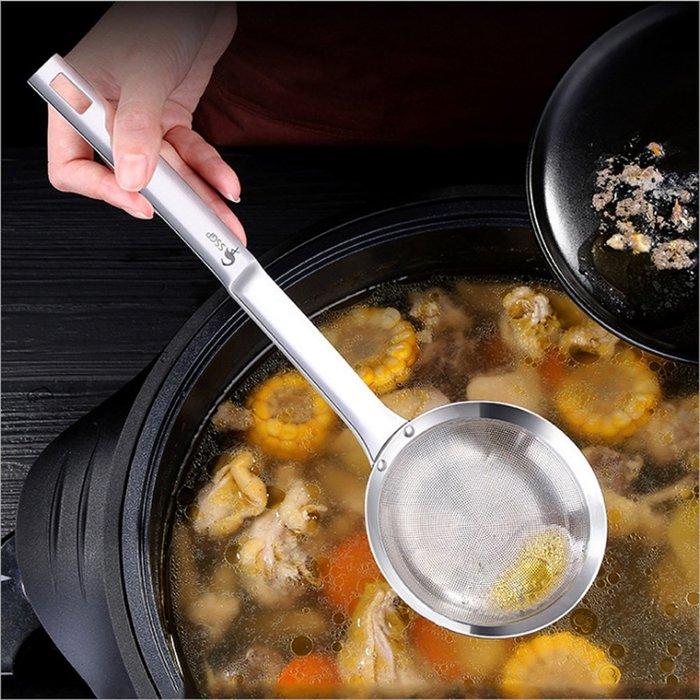 餐具用品304不銹鋼濾油勺過濾網勺漏勺油炸火鍋勺2入組D195-1