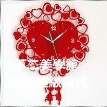 【格倫雅】^一點靈心心相印掛鐘客廳時鐘表掛鐘大號靜音心形42929[g-l-y88