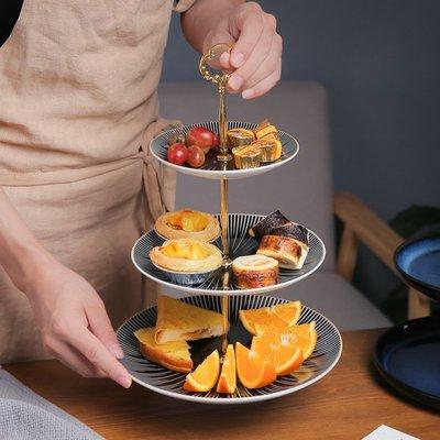 有一間店-歐式創意多層水果點心盤 現代簡約干果盤 酒店客廳家用雙層圓形盤(規格不同 價格不同)