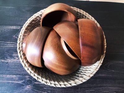 竹藝坊-TB01系列木碗/親子碗/情侶碗/野餐露營用/深色木/飯碗/湯碗(中)