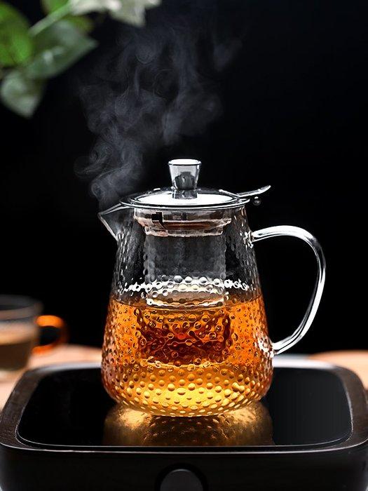 泡茶杯 過濾杯 玻璃杯 錘紋泡茶壺器茶水分離耐熱高溫加厚明火可燒豬單水壺套裝小紅茶杯