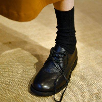 *菇涼家*學院風,圆頭平底鞋女单鞋 系带复古日系平跟女鞋暗黑系带鞋
