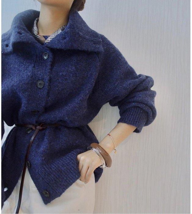 【鈷藍家】棉麻臆想 秋冬毛衣外套朗月3色加厚羊毛開衫保暖針織開衫高領織物外套