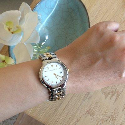 快閃現金價   刷卡24期0利率  專櫃正品 TIFFANY 18K 750 黃K金 半金中性石英錶 適 Cartier 男女皆宜