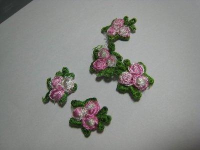 【蕾絲工坊】↙DIY手作材料↗ 刺繡水溶蕾絲貼布貼*M01003*粉紅色小花(2朵1元)