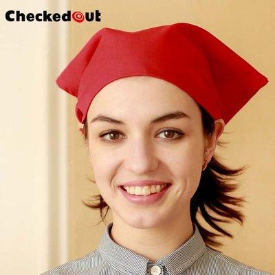 【制服工廠店】Checked Out廚師頭巾 男女 廚房頭巾帽 酒吧西餐廳快餐廳服務員頭巾