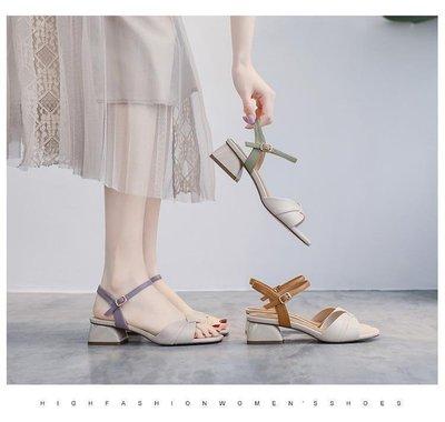 35-43大尺碼大腳粗跟涼鞋一字帶羅馬鞋