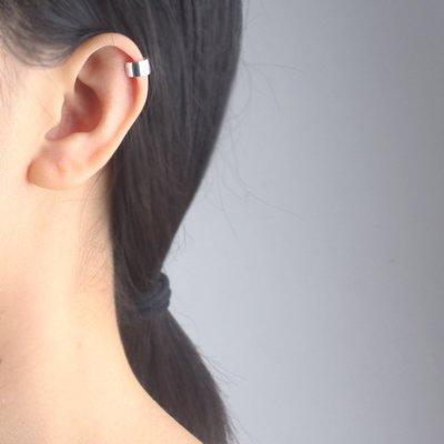純銀光面加厚耳夾無耳洞耳骨夾簡約耳環