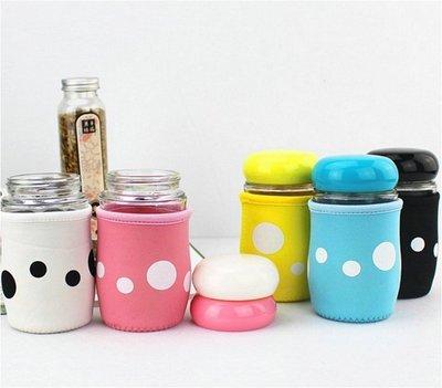 蘑菇 布套 玻璃杯 300ml 附杯套 水瓶 攜帶水壺 泡茶 咖啡 隨手杯 茶壺 冷水壺 保鮮罐 儲物罐 儲物瓶-2入