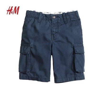 H  M深藍口袋工作短褲3-4歲(售價:790含運)