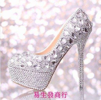 【易生發商行】明星同款水晶婚鞋高跟防水台鞋夜店鞋舞台鞋拍婚紗照鞋禮服鞋女F6071