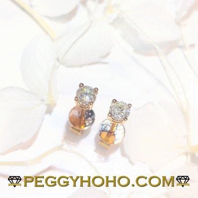 【Peggyhoho】全新18K玫瑰金33份4爪真鑽石耳環一對|玫瑰金耳環|超值長青