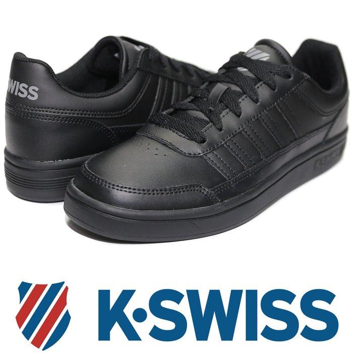 鞋大王K-SWISS 06042-022 黑色 皮質休閒運動鞋【免運費,加贈鞋油和襪子】719K