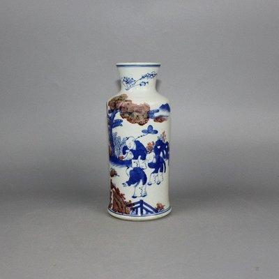 ㊣三顧茅廬㊣ 清青花釉裡紅人物折口瓶雙圈款嬰戲圖古玩古董