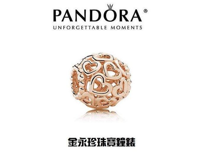 金永珍珠寶鐘錶*PANDORA 潘朵拉 原廠真品 2015 北美限定玫瑰金 簍空愛心 勿下標*