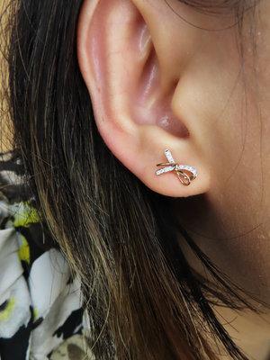 %玉承珠寶%輕珠寶系列~14k玫瑰金天然鑽石氣質蝴蝶結耳環DE7