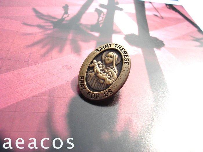 AEACOS@古董 古著 vintage retro MODs SAINT THERESE 慈愛聖泰瑞莎橢圓古銅色別針胸針