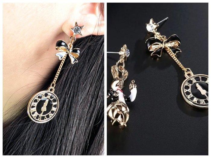 愛麗絲夢遊仙境造型耳環 白兔先生 懷錶E003