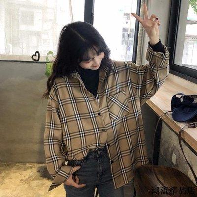 時尚少女襯衣春季新款復古寬松格子長袖襯衫女韓版休閑polo領上衣
