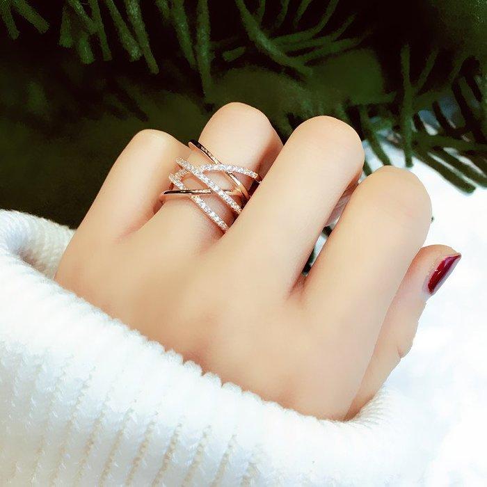 戒指歐美誇張個性戒指指環交叉多層關節戒尾戒食指韓國戒指