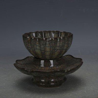 ㊣姥姥的寶藏㊣ 宋代哥窯金絲鐵線茶杯茶託一套  出土文物古瓷器手工古玩收藏擺件