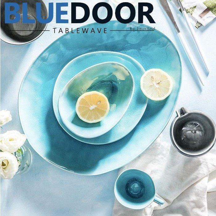 BlueD_ 冰裂釉色 水滴盤 7.5吋 西餐盤 水果盤 義大利麵 甜點盤 平盤 日式小菜碟 漸層漸變 創意設計 鵝卵石
