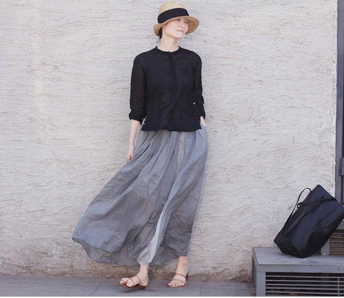 質樸的奢華♥ 夏季輕薄煙灰色深淺撞色松緊腰部抽繩雙層寬松半身裙3211