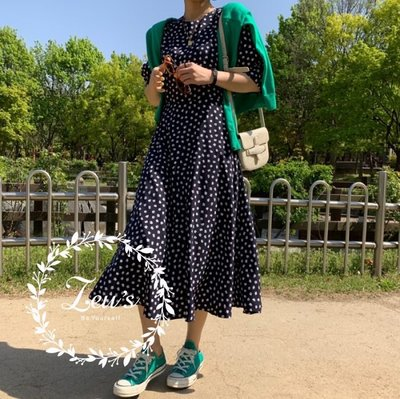 【ZEU'S】小清新公主泡泡袖收腰長洋裝『 05119803 』【現+預】E