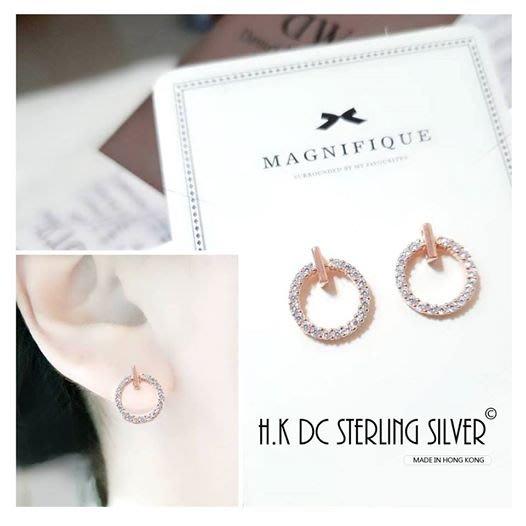 香港DC正品(現貨) - 925純銀玫瑰繞鑽典雅耳環(可動)