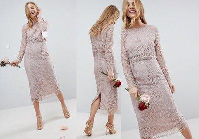 ◎美國代買◎ASOS波浪下擺圓領長袖上衣後開叉高腰窄裙復古氣質名媛二件式蕾絲筆型裙洋裝~歐美街風~大尺碼
