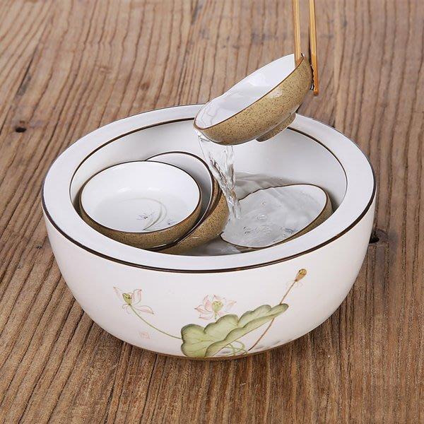 5Cgo【茗道】含稅會員有優惠   521063888877 手繪茶洗杯洗功夫茶具零配件景德鎮手繪陶瓷茶洗大號水洗