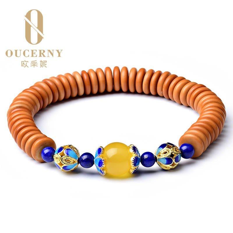 【三生】琥珀蜜蠟圓珠配飾925銀雕刻青金石配珠橄欖石手串多寶手鏈OCN-18
