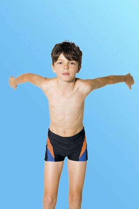 【M8210 】梅林泳裝降價↘特賣~男童橘藍配邊四角童泳褲