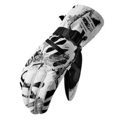 手套Cavalry冬季保暖加絨手套加厚防寒防風觸屏戶外運動騎車電動車摩托車男女滑雪手套騎行裝備 黑白
