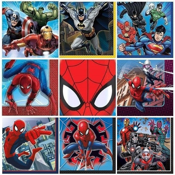❤Lika小舖❤英雄系列25cm進口餐巾紙蝶谷巴特蝶古巴特Marvel英雄蜘蛛人美國隊長蝙蝠俠超人鋼鐵人