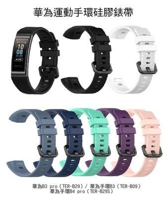 --庫米-- Huawei B3 /B3 Pro/ B4 Pro 華為手環 運動柔軟硅膠手錶帶 免工具 防水透氣