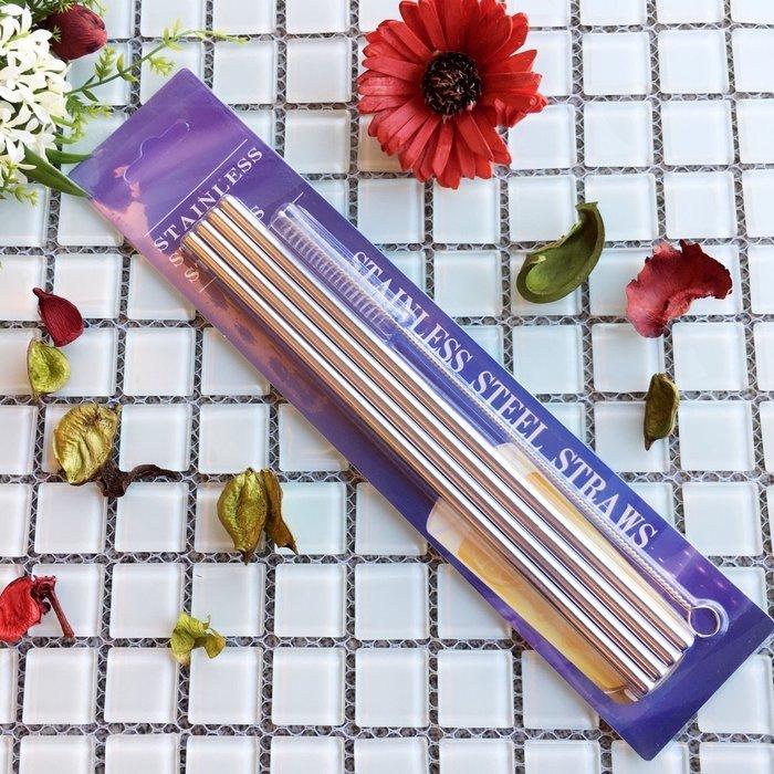 [組合價] 高級不鏽鋼吸管 螺紋直吸管*4 + 吸管刷 304食用級不銹鋼材質 悠飾生活 