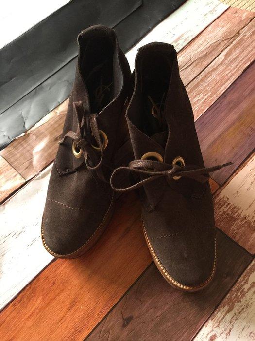 YSL咖啡色麂皮圓頭高跟短靴 35