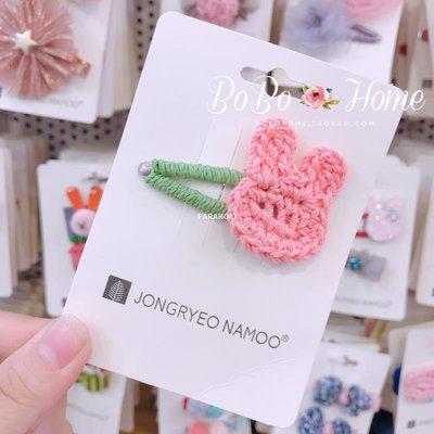 PARANOID韓國palmtree兒童毛線兔兔 蕾絲花朵百搭外出可愛正韓髮卡 邊夾
