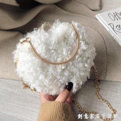 羊羔毛毛包包女包秋冬新款百搭時尚可愛毛絨斜挎包韓版手拿包