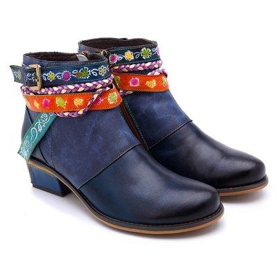 浪跡天涯♥短靴☆時尚手工真皮全皮短靴牛仔超舒適牛仔皮帶短靴