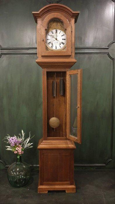 【卡卡頌  歐洲古董】德國老件 銅雕刻  琺瑯面板 橡木框 落地鐘 老爺鐘 古董鐘 機械鐘  ca0136 ✬