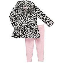 【安琪拉 美國童裝/生活小舖】Carter's 豹紋刷毛2件式套裝 –上衣+內搭長褲