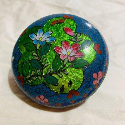 [輕·古物]掐絲琺瑯花卉首飾盒飾品盒C0717珍稀少見