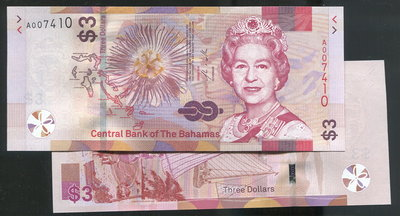 【紙幣】Bahamas (巴哈馬),P-new 3 Dollars,2019,品相全新UNC
