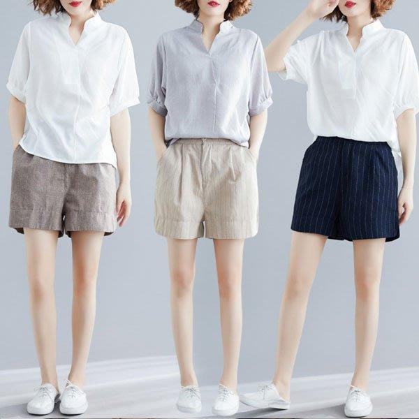 休閒短褲◎ 女人心語 ◎中大尺碼 棉麻寬鬆條紋休閒短褲 (三色) 預CK-BC-P