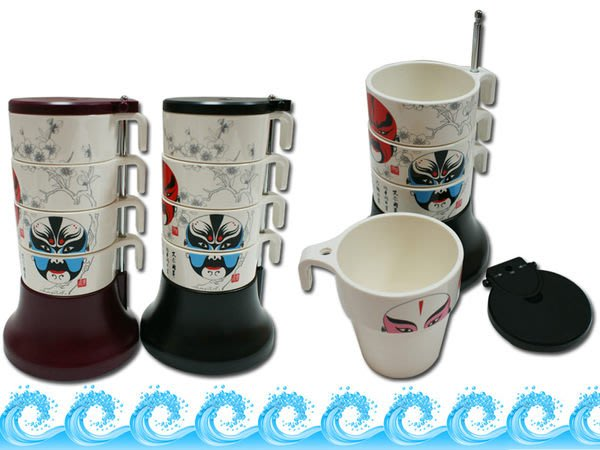 【Treewalker露遊】高級4cups新居禮物臉譜套杯咖啡杯/水杯/茶杯。三國戲曲生日聖誕 交換禮物 二色  高質感