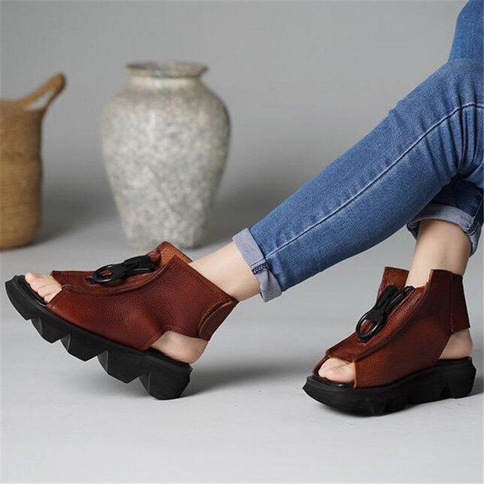 創意夏季女鞋 復古真皮厚底魚嘴涼鞋英倫風個性時尚頭層牛皮平底高幫羅馬涼靴女